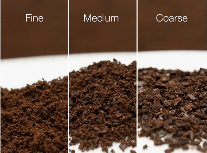 The different types of coffee grind - fine, medium, coarse