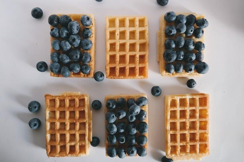 square double Belgian waffle with blueberries