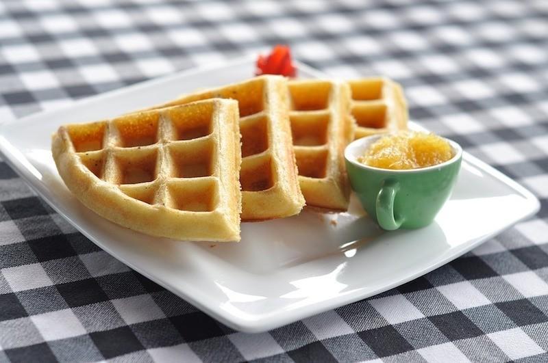 Triangle Belgian Waffles On Plate