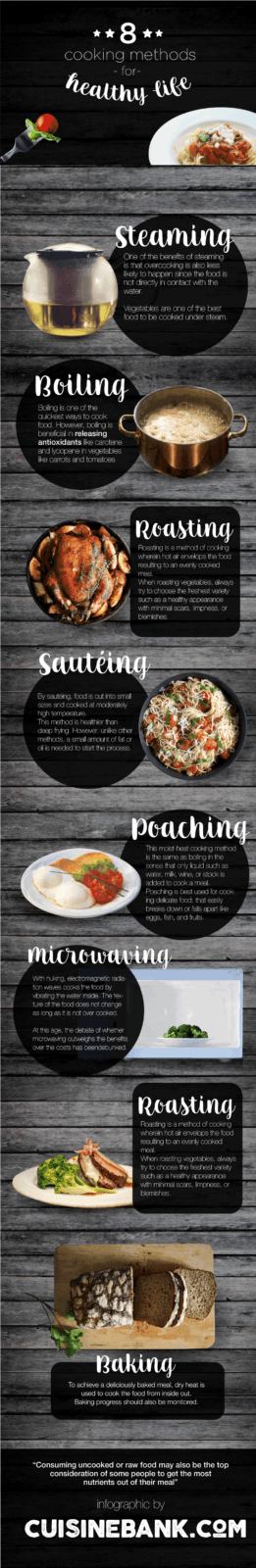 Top 8 Cooking Methods For Healthy Living Infographic