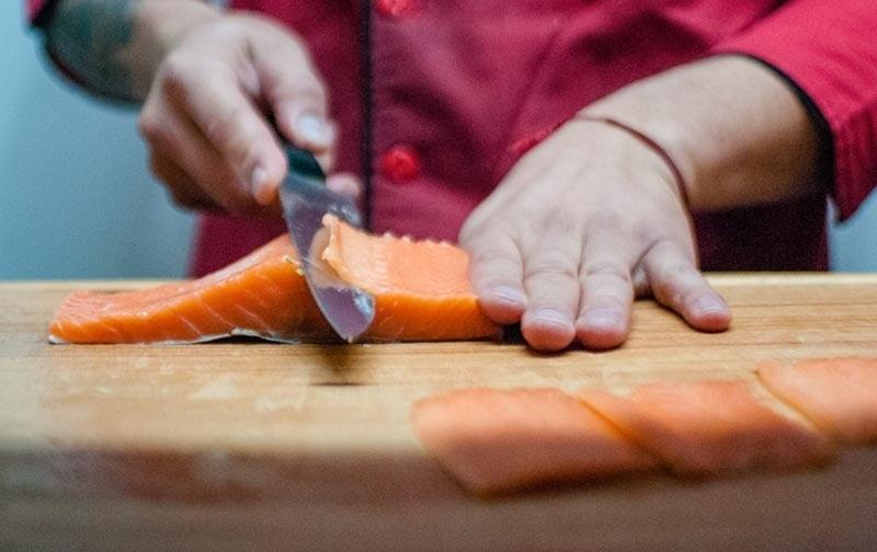 Salmon slicing for sashimi and sushi