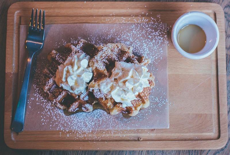 Belgian Waffles On Cutting Board